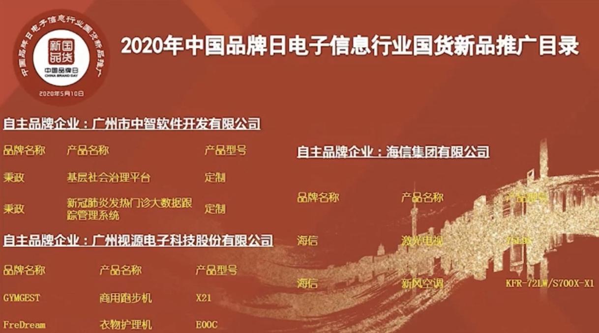 """中国品牌日:海信激光电视当选""""国货新品"""" 智能公会"""